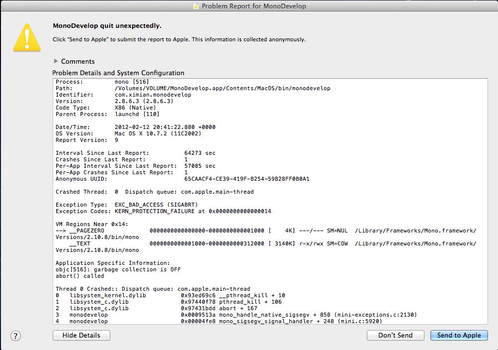 monodevelop linux crash