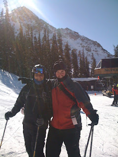 Bryan and Bryce at the top of the Silver Queen chairlift, with Mt. Crested Butte in the background