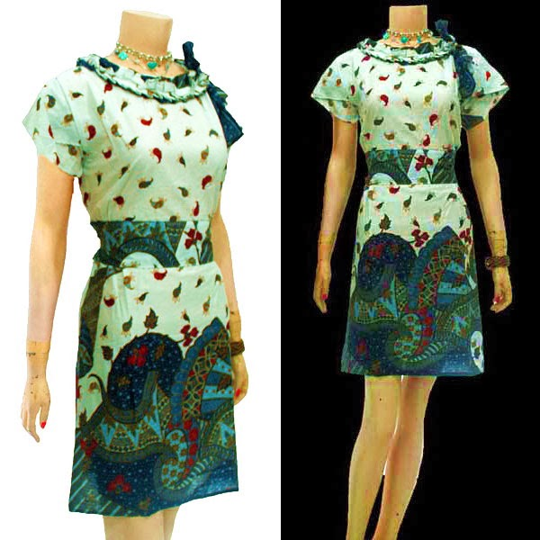 DB3630 Mode Baju Dress Batik Modern Terbaru 2014