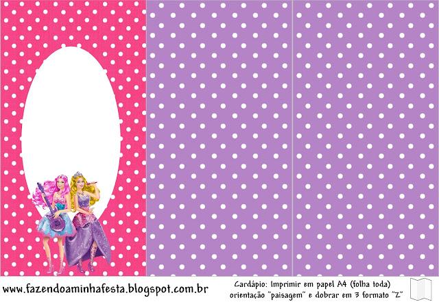 Imprimibles imgenes y fondos Barbie Princesa y Pop Star 7