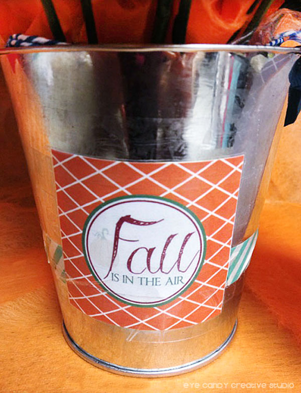 dollar spot bucket, washi tape, fall is in the air, fall gift tag, silver mini bucket