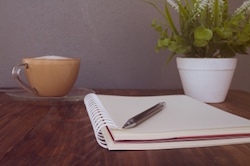 """""""Notebook Pen And Cup Of Coffee"""" by photouten"""