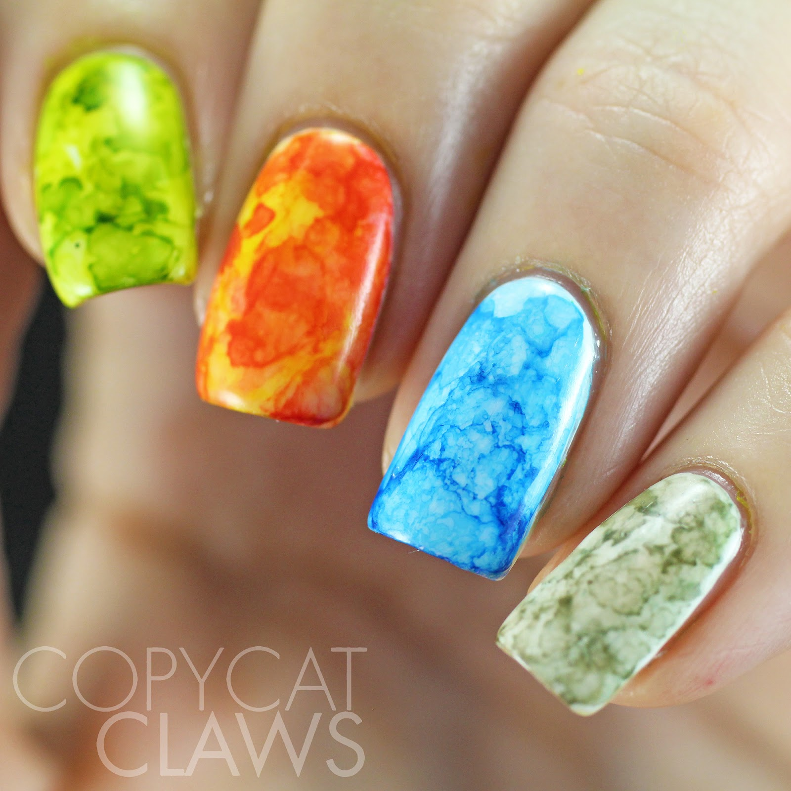 Copycat Claws Blue Color Block Nail Art: Copycat Claws: The Digit-al Dozen Does Nature: Day 5 The