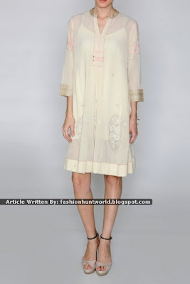 Printed Full Sleeves Long Tunic / Off-White Embroidered Tunic In Cotton