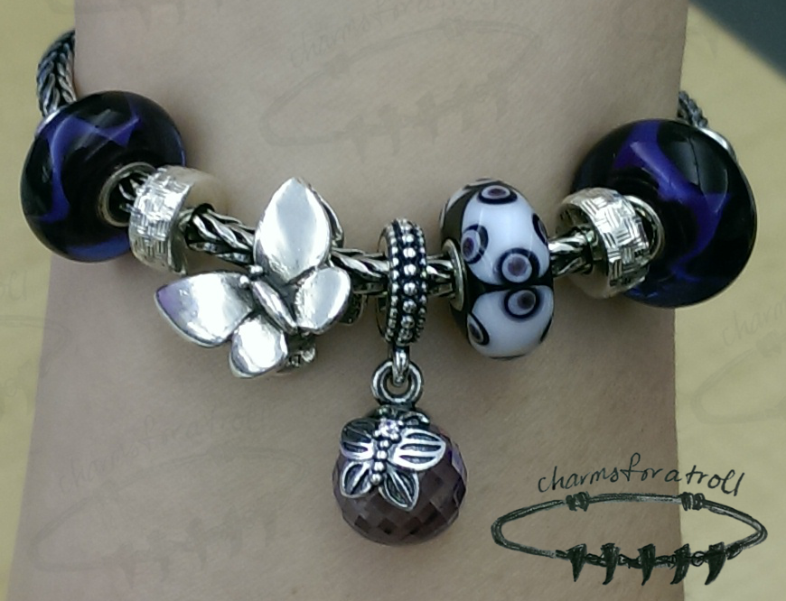 Trollbeads Purple Wave, Novobeads Grooved Anchor Slide, Pandora Morning Butterfly Lavender, Trollbeads Fantasy Butterfly