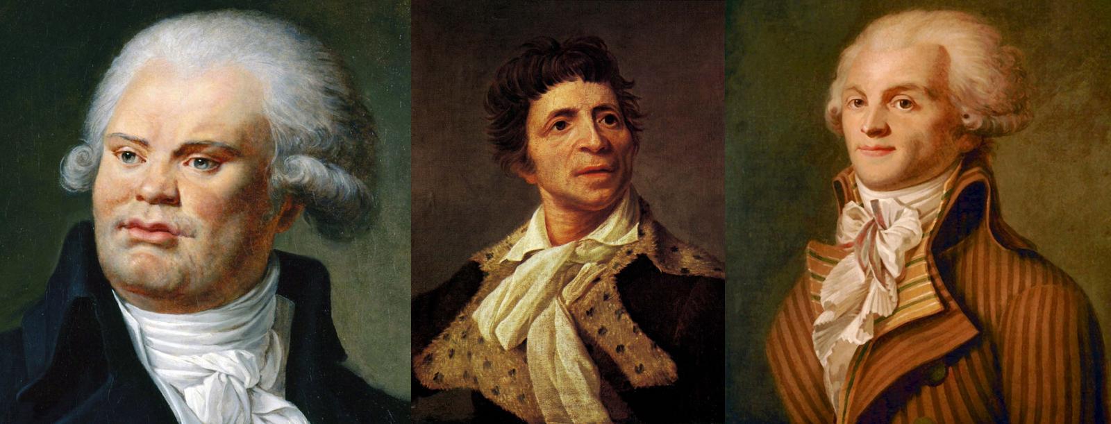 Georges Jacques Danton, Jean,Paul Marat e Maximilien de Robespierre