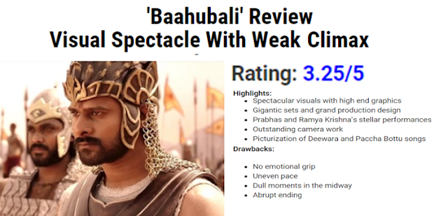 BAHUBALI 3.25 /5 RATING for SS Rajamouli Big Budgeted Movie
