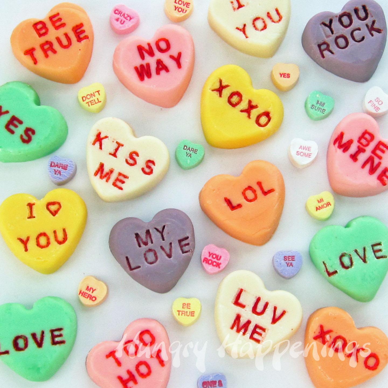 Candy Hearts Drawing Fudge Conversation Hearts