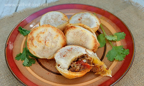 Easy Cocktail Beef Empanadas ~ Serve these tasty Empanadas as an appetizer or as part of a savory party platter ~ can be made in the oven or by using a Babycakes Cupcake Maker