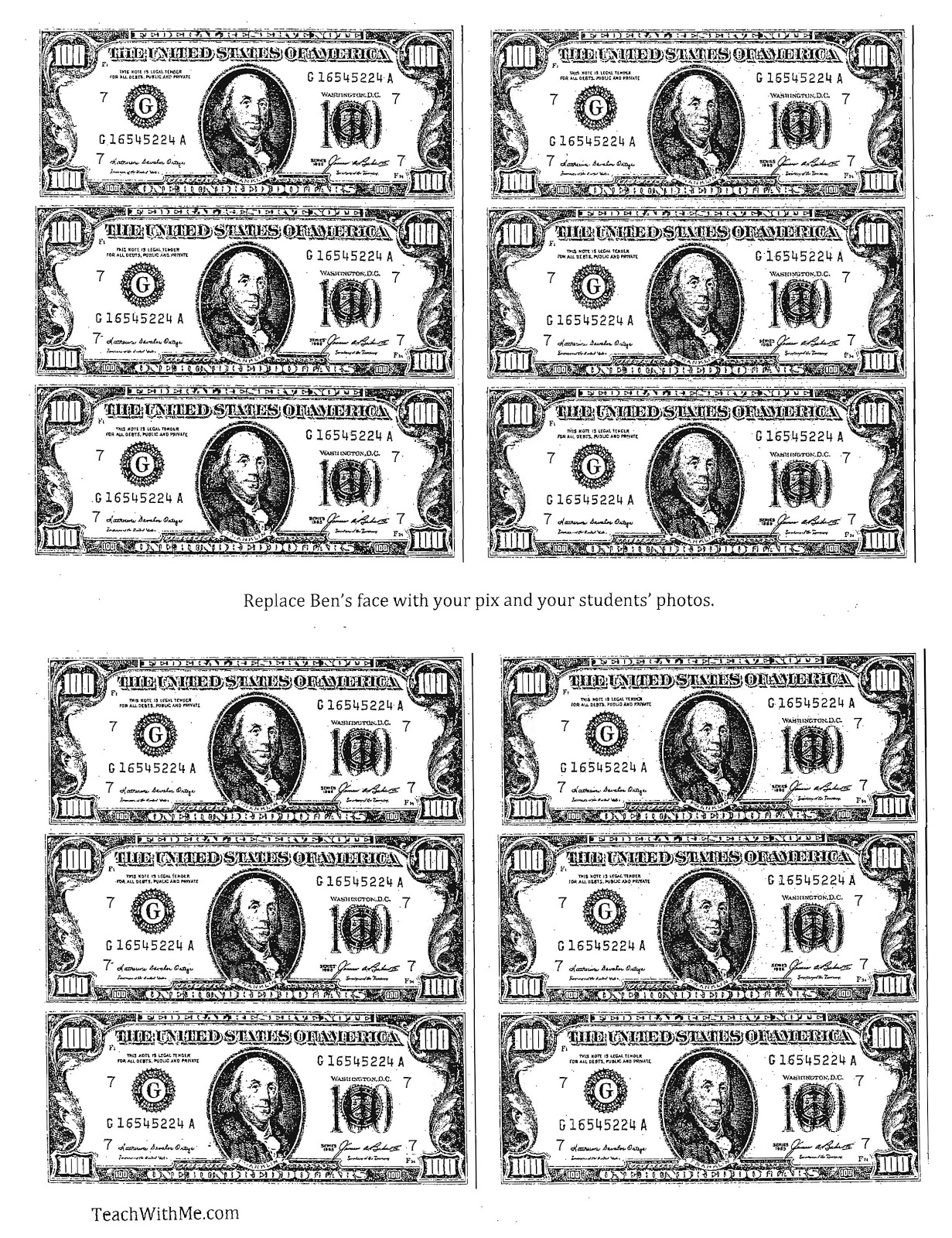 100 Dollar Bill Coloring Page