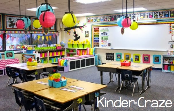 brightly colored and well-organized kindergarten classroom. Looks like such a fun place to learn!