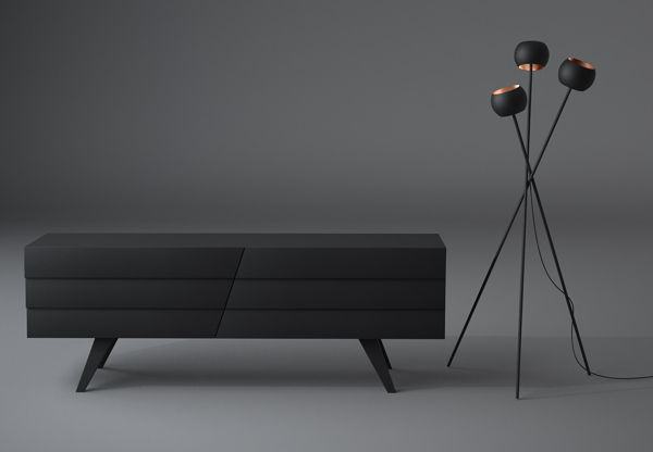 Black floor lamp with black chair