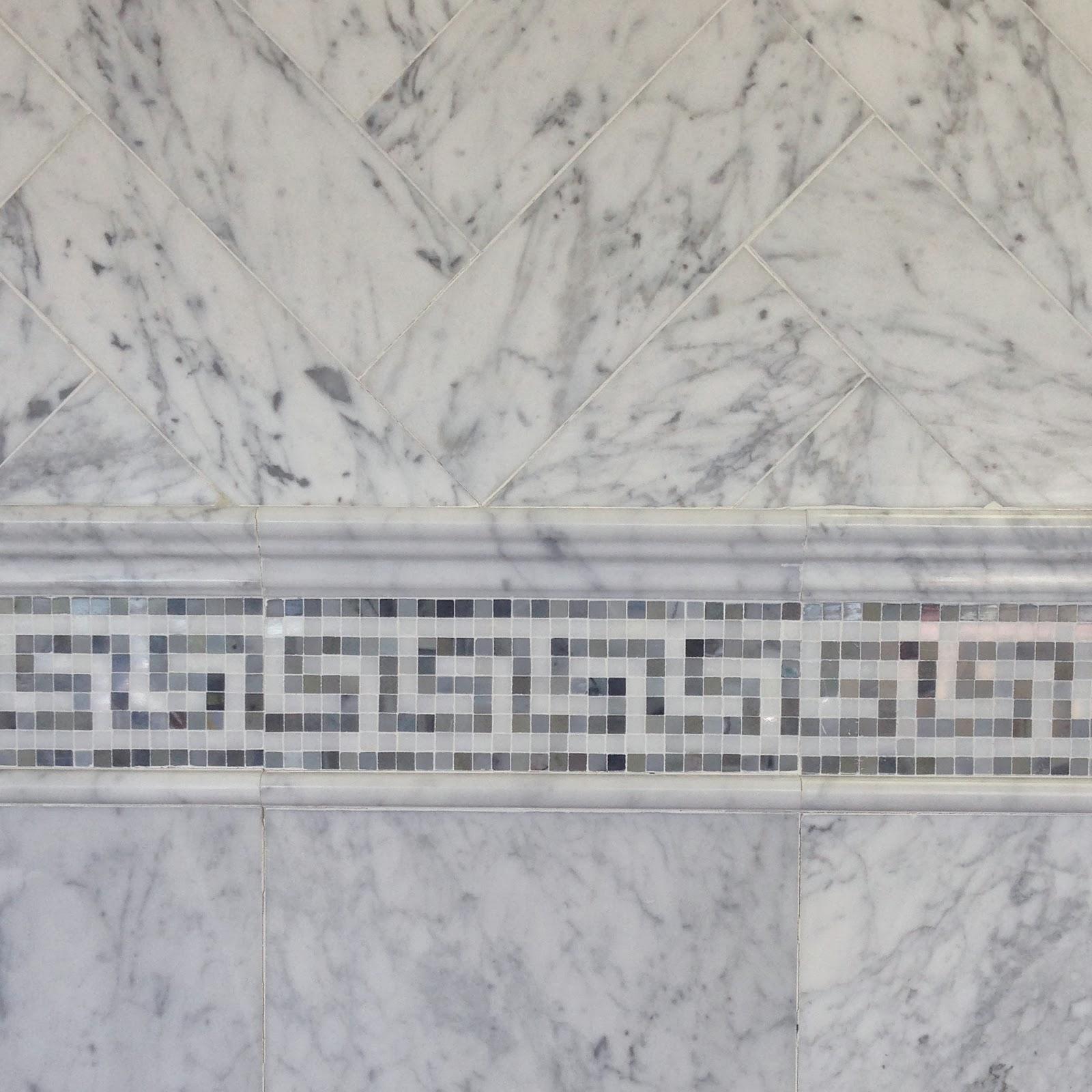 6 12 Bianco Carrara Marble Tile With Greek Key Border And 24