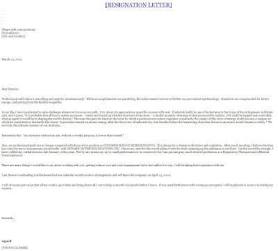resignation letter template template sample