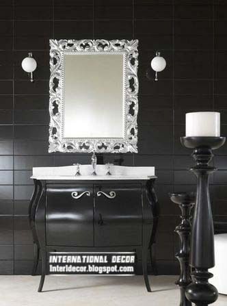 black wall tiles for bathroom and toilet, silver mirror,black bathroom
