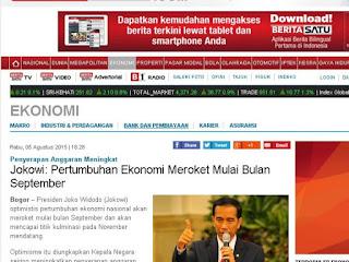 Soal pernyataan meroketnya ekonomi,jokowi bilang itu di plintir media
