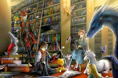 harry potter in the library, alice in wonderland library, books, libraries, night at the library, wallpaper, fantasy library, magical library, library ghosts