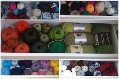 Yarn Organized by Weight, Color and Brand