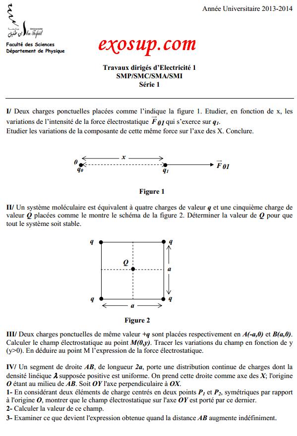 td électricité 1 ibn tofail:série n°1+solution