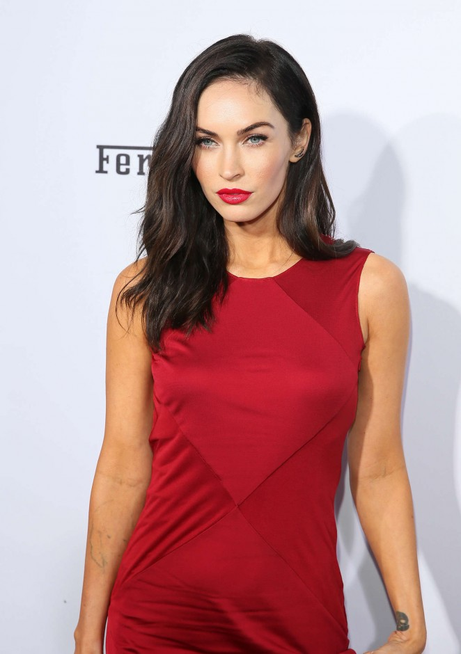 Megan Fox is sultry in a red Versace dress at Ferrari's 60th Anniversary in the USA Gala