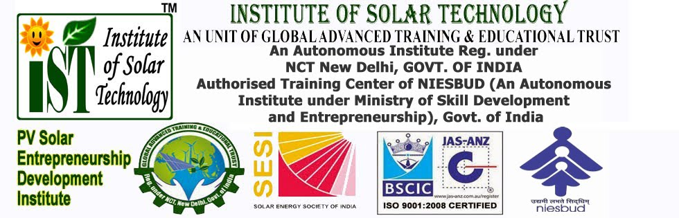 Solar training for PV installers, Authorised Center of NIESBUD,  Ministry of Skill Development