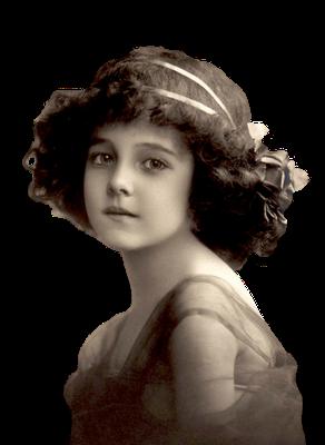 niña vintage en formato png con fondo transparente