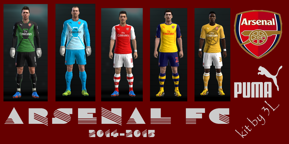 PES 2013 kit set Arsenal uniformes 2014/2015