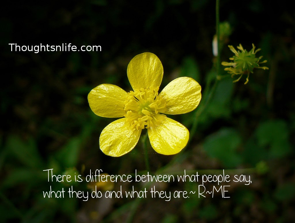 Thoughtsnlife.com : There is difference between what people say, what they do and what they are. ~R~ME