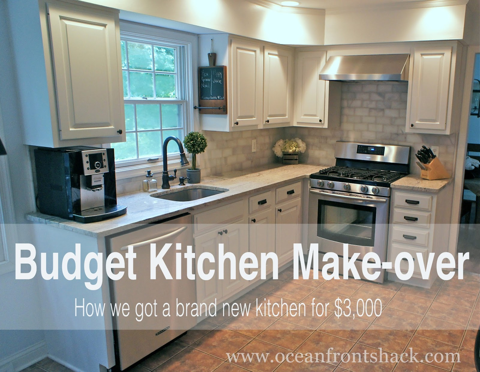 Budget kitchen makeover ocean front shack for Cheap kitchen makeover ideas
