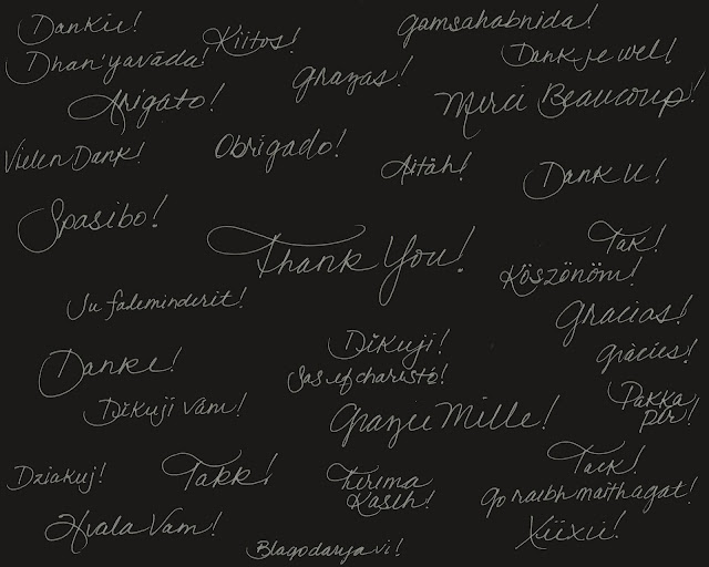 """Thank you!"" in many languages  written by LeAnn as seen on linen & lavender"