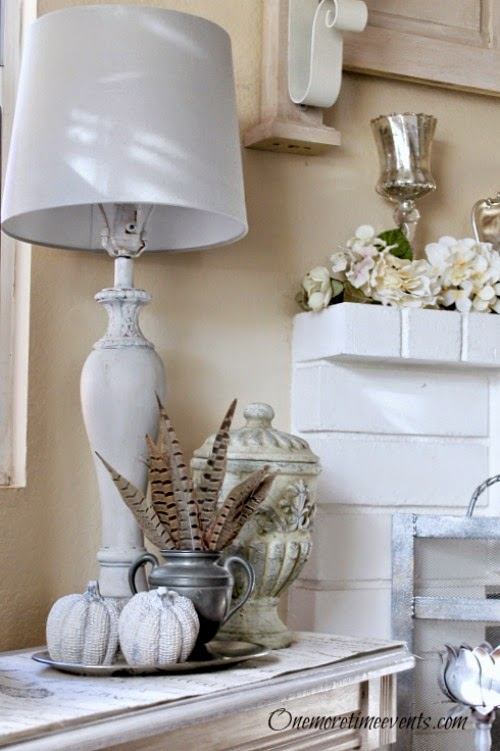 Grey Lampshade fix and fall vignette at One More Time Events.com