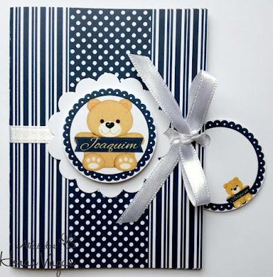 convite artesanal aniversário infantil urso ursinho azul marinho branco dourado menino 1 aninho bebê