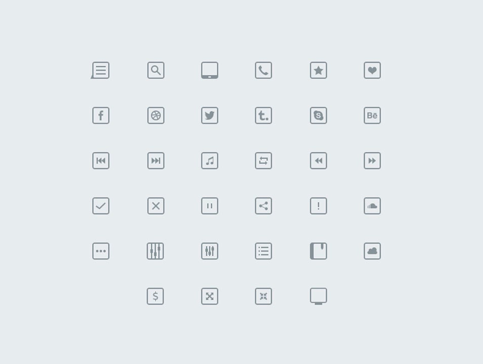 Thinicons Free Psd