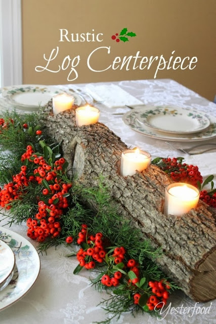 Rustic Log Centerpiece @ Yesterfood