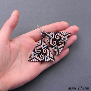 купить украшение в подарок девушке серьги из бисера треугольные