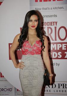 Sana Khan in lovely Right Dress with Deep neck at Society Interior Awards 2015 in Mumbai