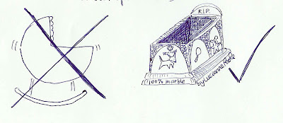 Sketch of a traditional crib crossed out and a stone sarcophagus with a check mark