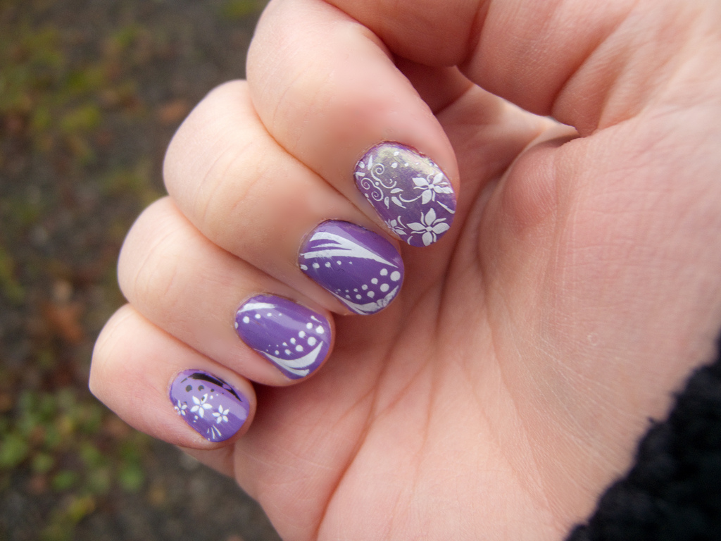 Purple long nails design ideas