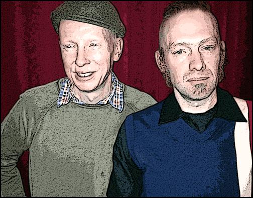 Photoshoppade poeter på Kafé Klavér; Andreas Björsten och Johan Nordgren.