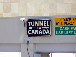 Tunnel to Canada sign in downtown Detroit, Michigan