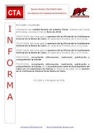 C.T.A. INFORMA CRÉDITO HORARIO ANTONIO PÉREZ, JULIO 2018