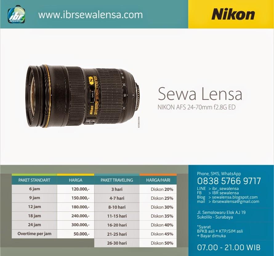 Harga Sewa lensa kamera DSLR Nikon 24-70mm f2,8G ED Surabaya, Sewa kamera Jakarta, Sewa Kamera Jogj