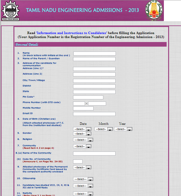 Screen Shot For Online TNEA 2013 Registration