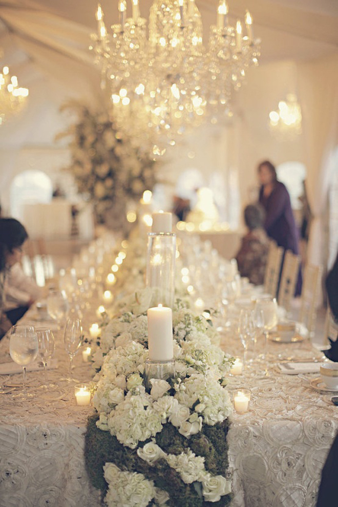 Long tables wedding receptions part 2 belle the magazine for Long table centerpieces