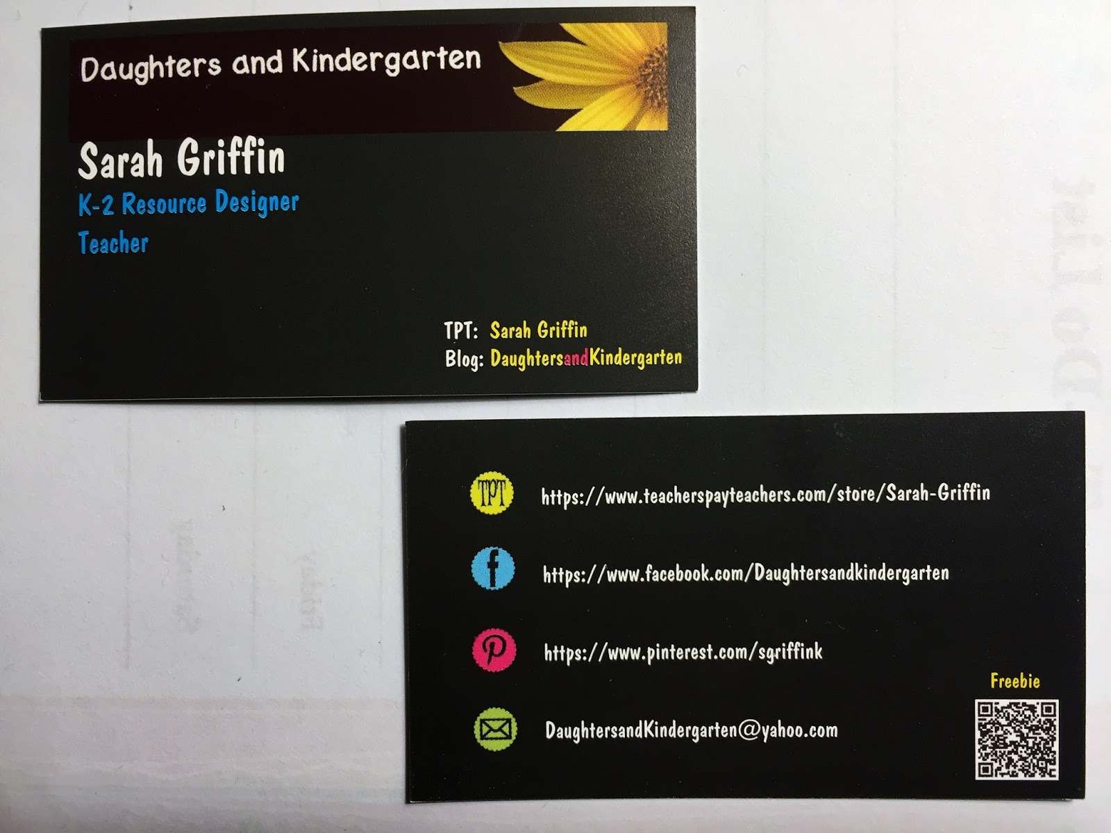 Daughters and Kindergarten: Business Cards for TPT
