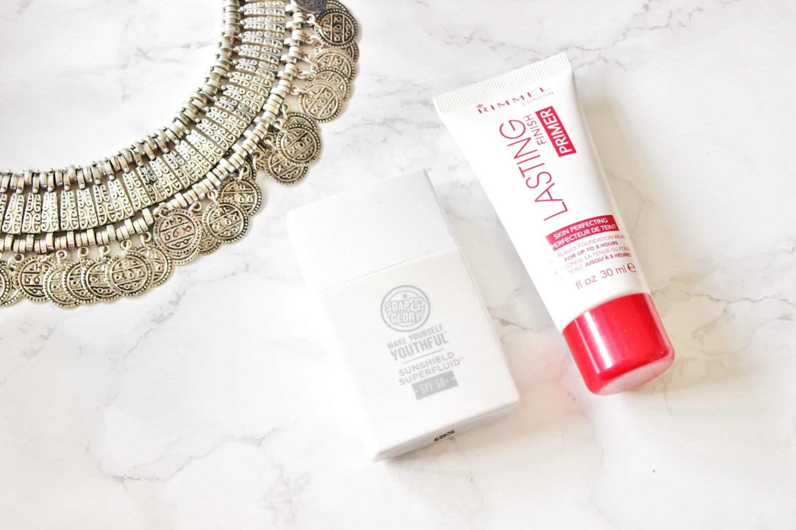 Soap and glory make yourself youthful sunshield SPF50 and Rimmel London Lasting Finish Primer