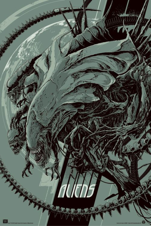Ken Taylor illustrations movie posters silkscreen Aliens