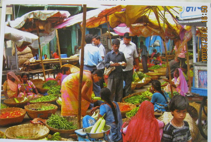 postcards for swap market scene india reserved