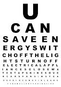 Poster: Eye Chart with Energy Saving Tips