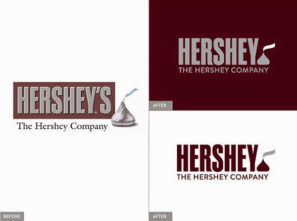 Hershey's logo before and after